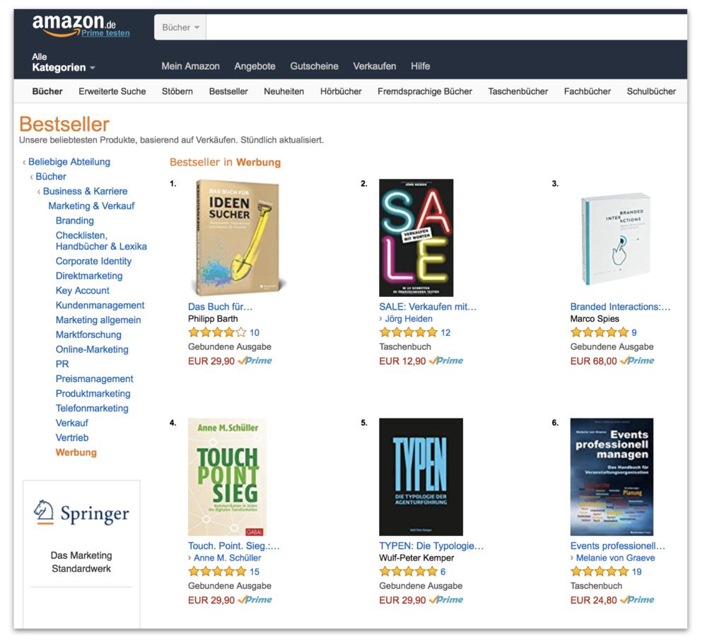 Buch Wulf-Peter Kemper TYPEN - Die Typologie der Agenturführung in den Amazon Top-Ten.