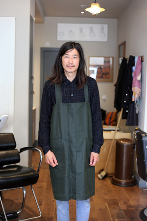 Green wax cotton apron handmade