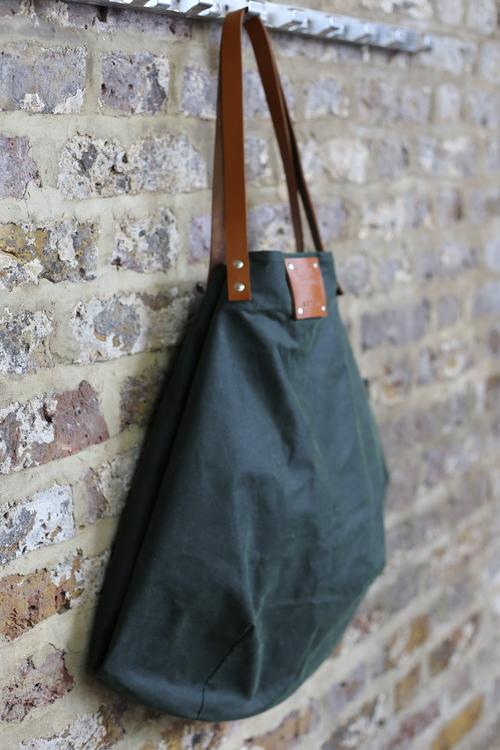 Green wax cotton waterproof oil cloth waxed handmade bag