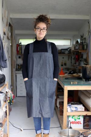 Black denim apron handmade worn by forest and found