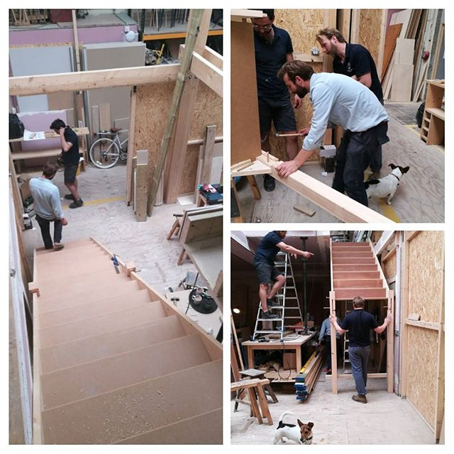 Horray! We finally have stairs and a mezzanine!  Only feasible with the kind and gracious help of 3 great guys and a dog...A million thank you Andrew, Dan and Juan...back at base and the joy of studio life.  #studios #sugarhousestudios #kindness #studiolife #hardwork #bermondsey #handmade #joinery #work #backtobase #craft #dogs #dogsinstudios
