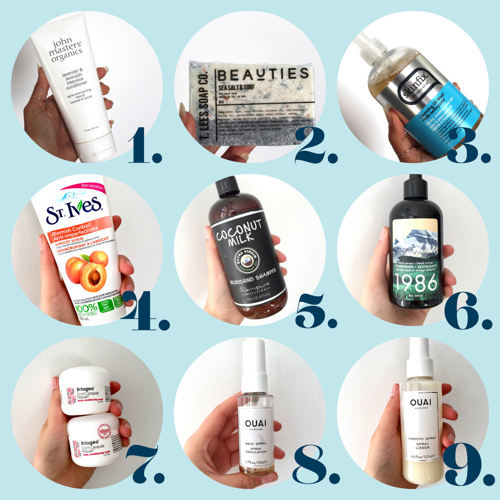 produit beauté, produit douche, douche, produit salle de bain, what's in my shower, essentiels de douche, douche, produits pour la peau, sephora, jean coutu, winner, drakes general store, st ives, renpure, briogeo, the ouai, jen atkins, t lee soaps, natural skin care, skin care, john master organics, natural conditioner, shampoo, shampoing, gel de douche, coconut milk, bons produits pour la peau, bons produit pour la douche, skin fix, best products for the shower, best skincare products, sephora skincare, hair spray, wave spray, smooth spray, masque pour la peau, détente, relaxation, bien-être, wellness, peau sensible, produits pour la peau sensible, sensible skin, skin problems skincare