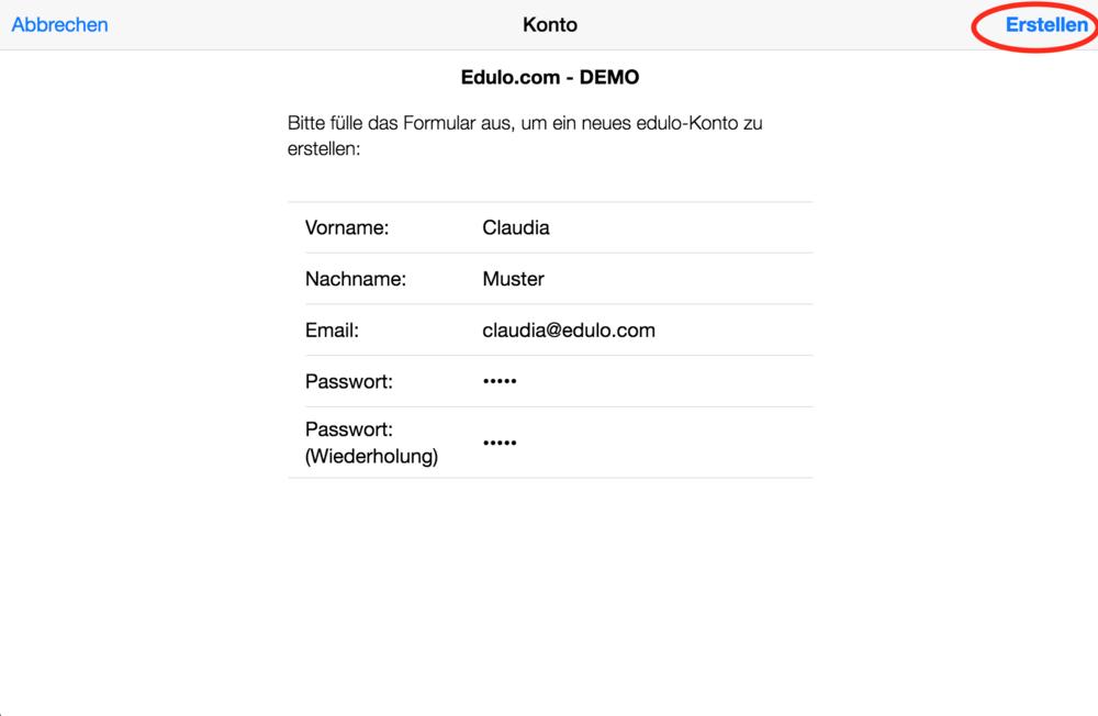 Gib deine Kontaktangaben und E-Mail hier ein. Falls du das Passwort vergessen solltest, kannst du dir eine neues Passwort per Mail zustellen lassen.