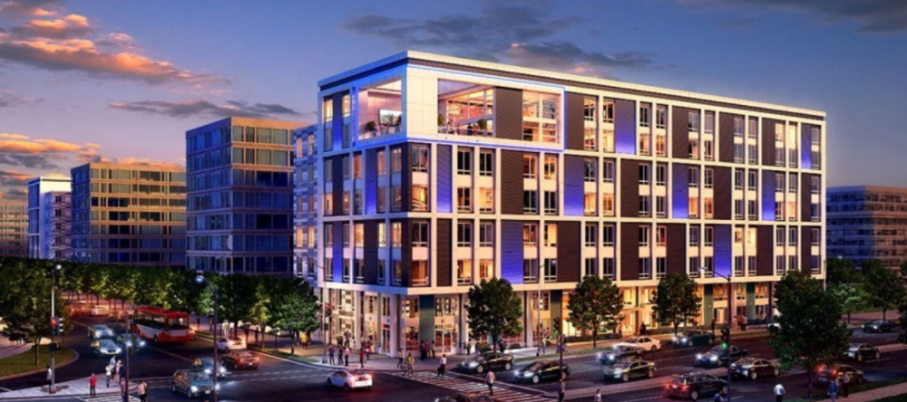 Phase two of the View at Waterfront is underway at Sixth and M streets in Southwest Washington. The new building will house 276 apartments. (Mill Creek Residential)