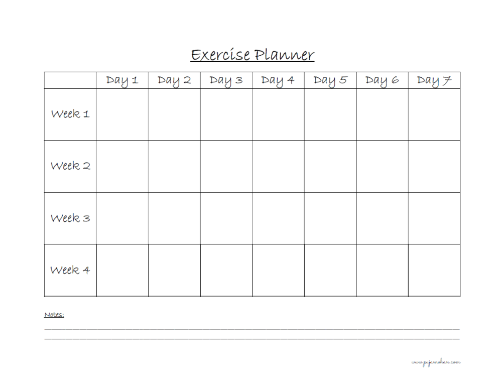 Copy of Exercise Planner
