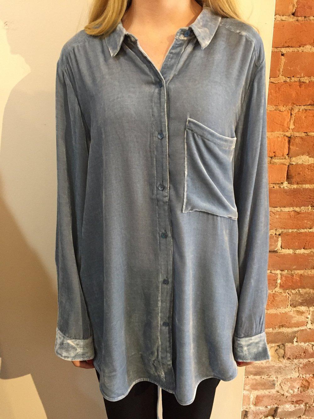 b7c03c98f8430 Eileen Fisher Velvet Button Down Long Sleeve Shirt — Mirror Image Fashions