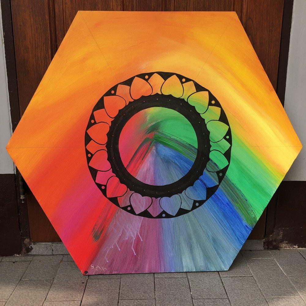 Rainbow Dreams , 2018  Acrylic & Ink on Canvas 89cm x 89cm THB 19,000