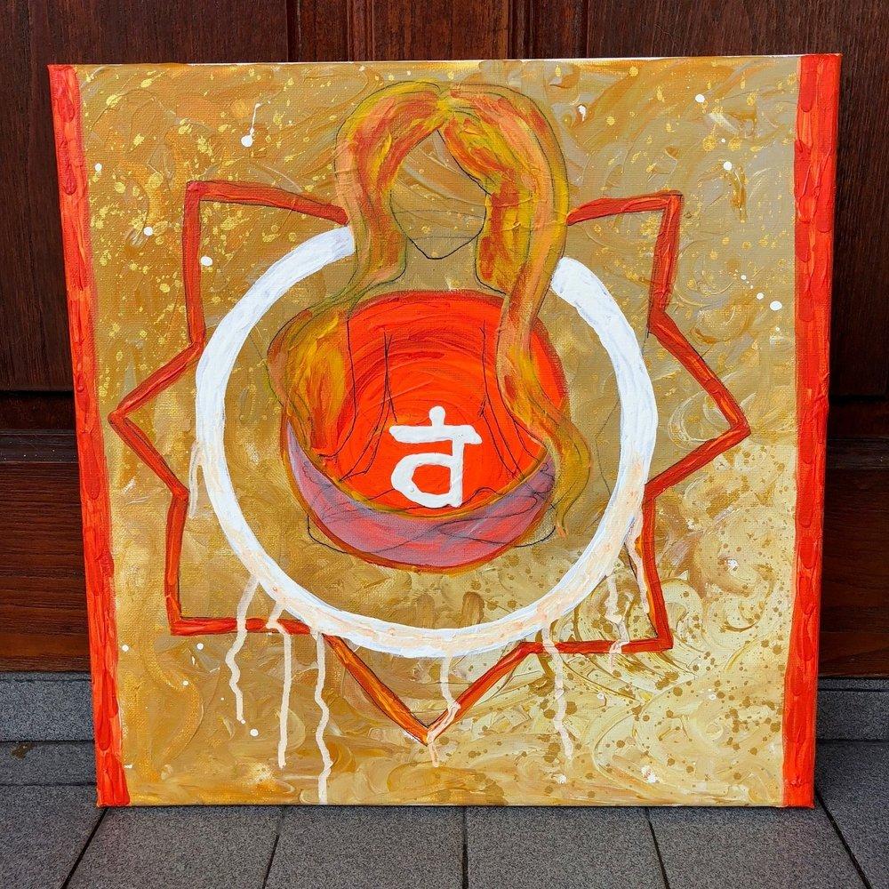 The Sacral Chakra , 2018  Acrylic on Canvas 40cm x 40cm THB 3,900