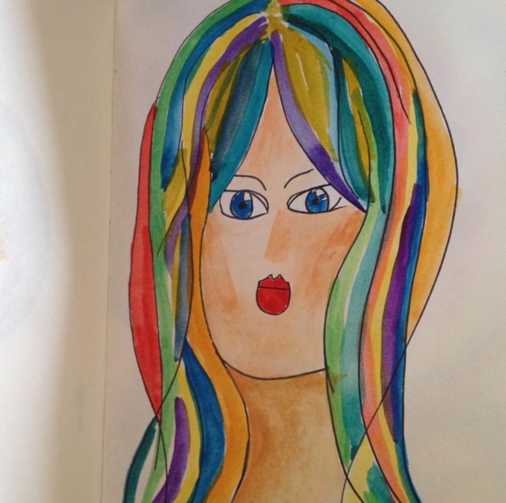 Rainbow Hair , 2015  Watercolor on Paper 21cm x 29.7  ( A4 ) THB 900 - SOLD