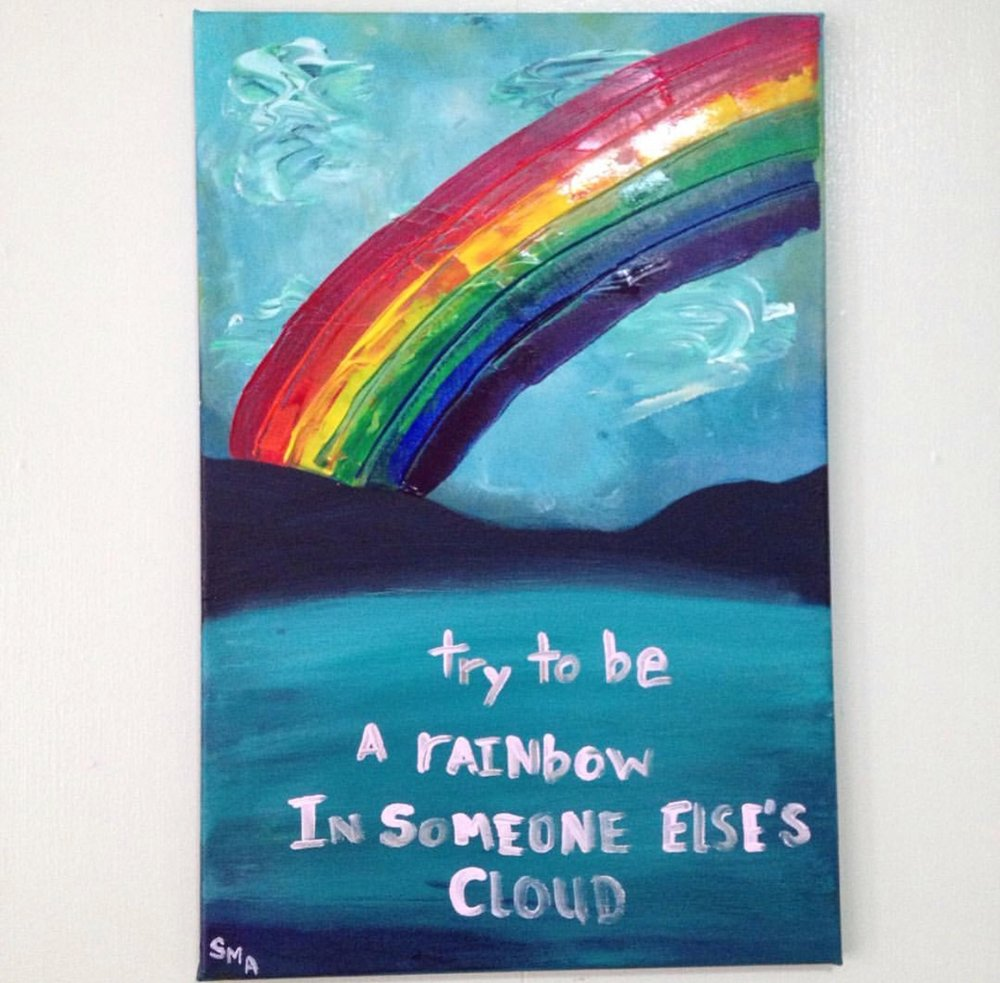 Try to be a rainbow in someone else's cloud , 2017  Acrylic on Canvas 40cm x 60cm THB 5,800 - SOLD