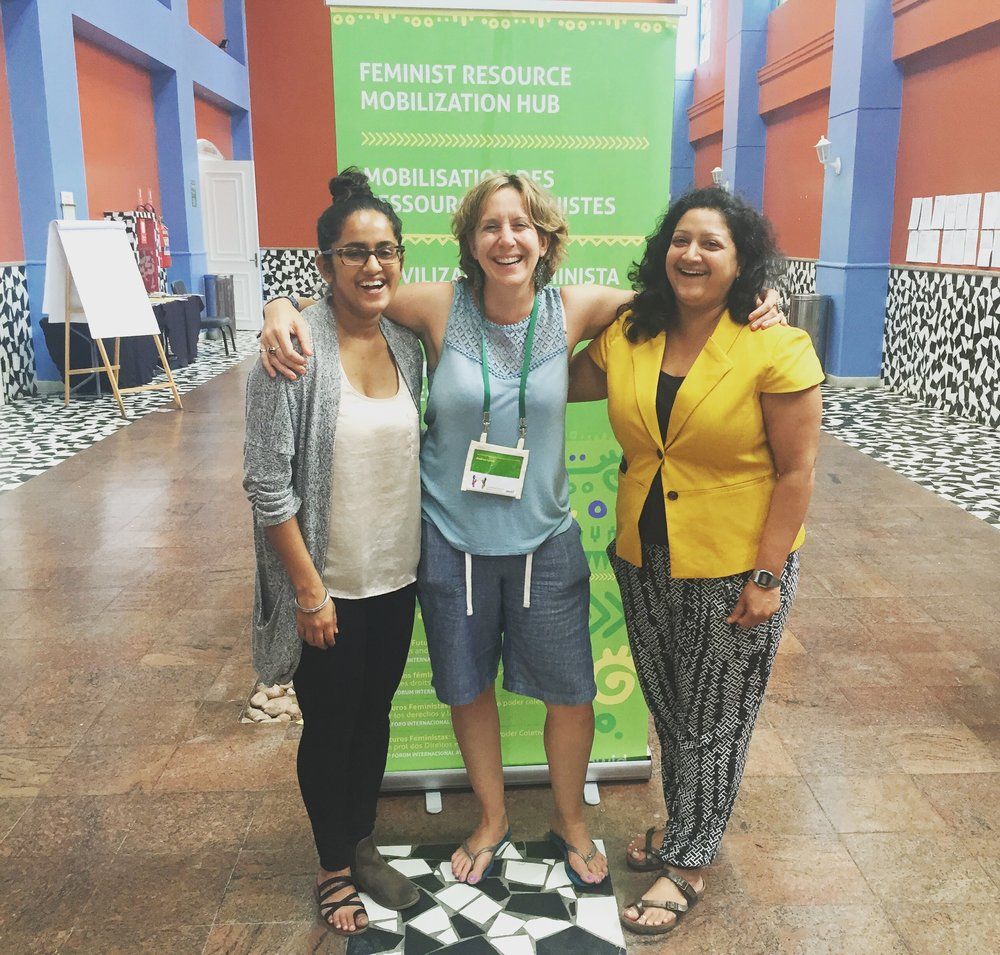 With members of AWID's resourcing women's rights team at the Feminist Resource Mobilization Hub of the 2016 AWID International Feminist Forum.