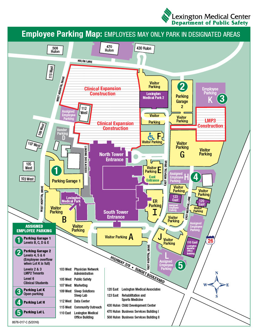 Employee Parking Map (Updated June 22, 2016)