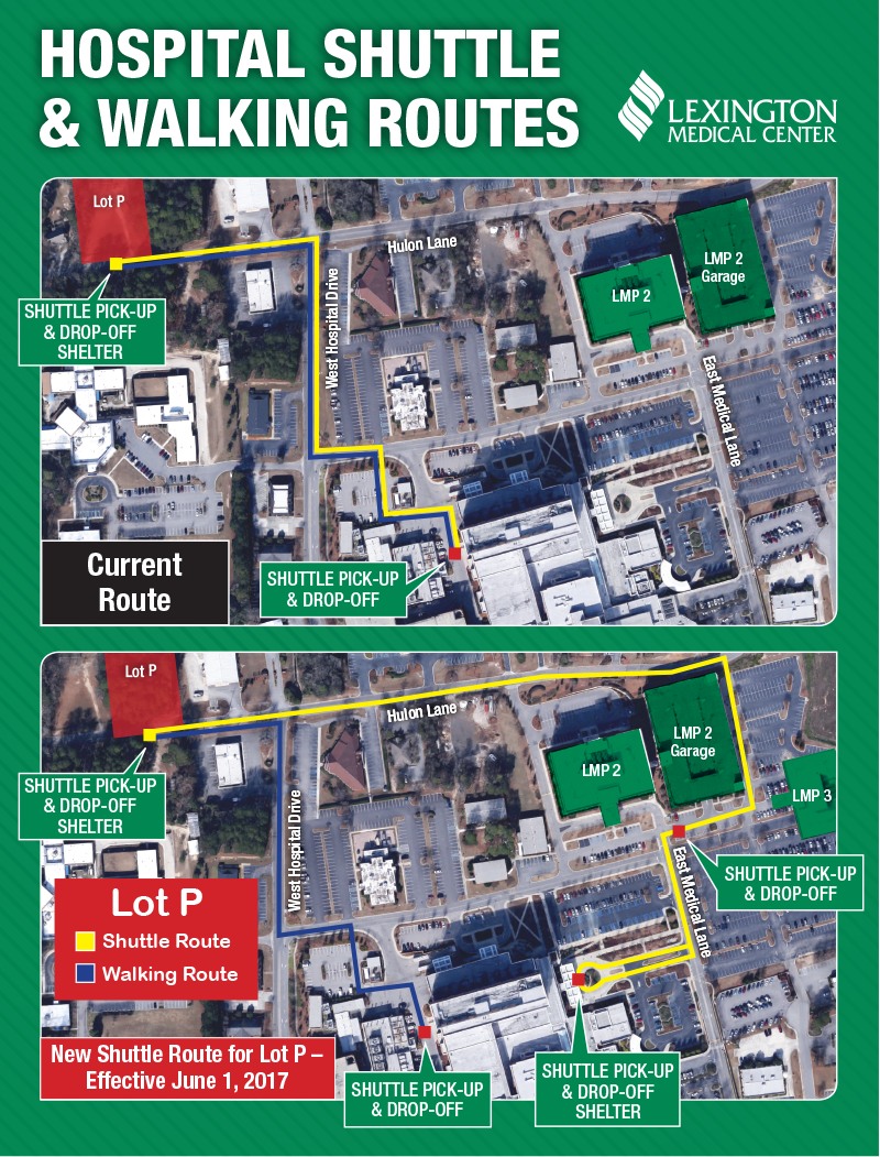 Shuttle & Walking Routes (April 2017)   *** Includes New Shuttle Route for Lot P - Effective June 1, 2017. ***  CLICK IMAGES TO ENLARGE (pdf)