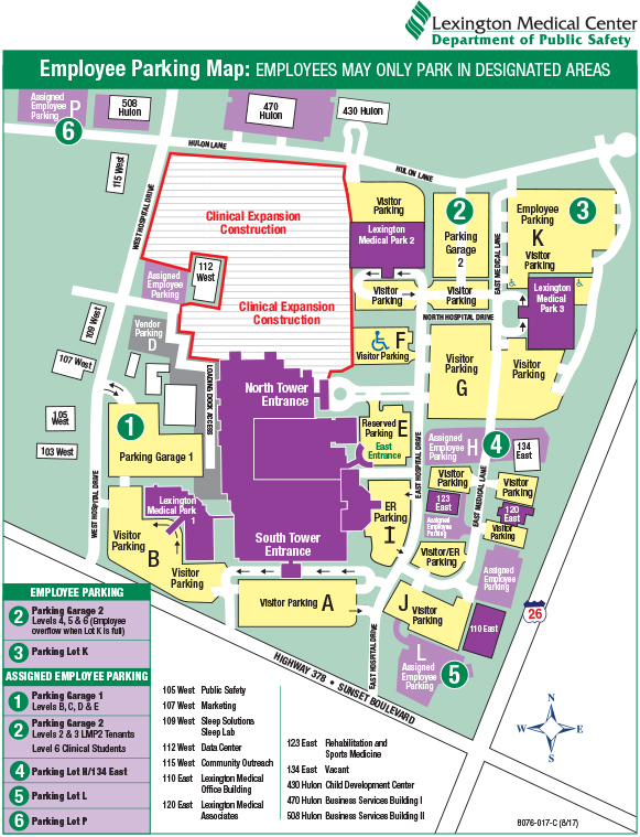 Employee Parking Map (Updated August 2017)   CLICK IMAGES TO ENLARGE (pdf)