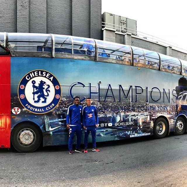 From #London to #NewYork, @chelseafc: CHAMPIONS. #CFC #CFCUSA @iam_ess @theofficialac3