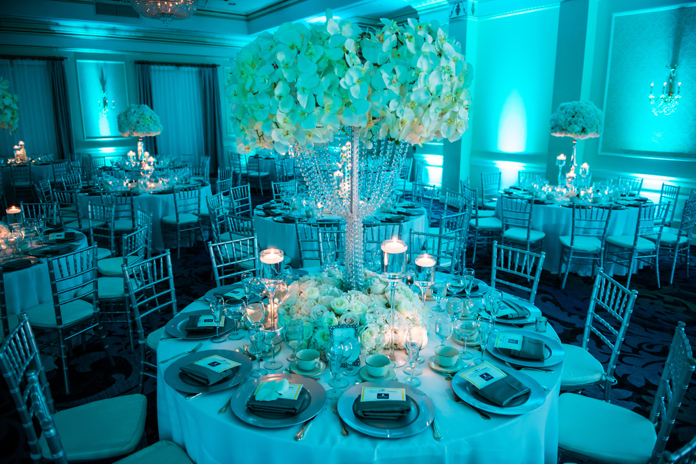 BLUE RECEPTION WITH WHITE FLOWERS