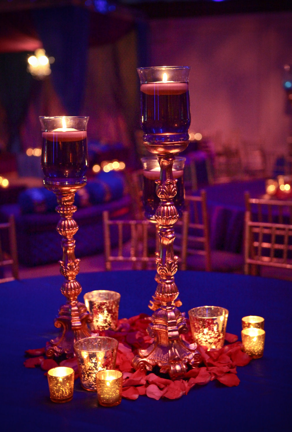 Centerpiece with Mercury Glass Votives and Candlesticks