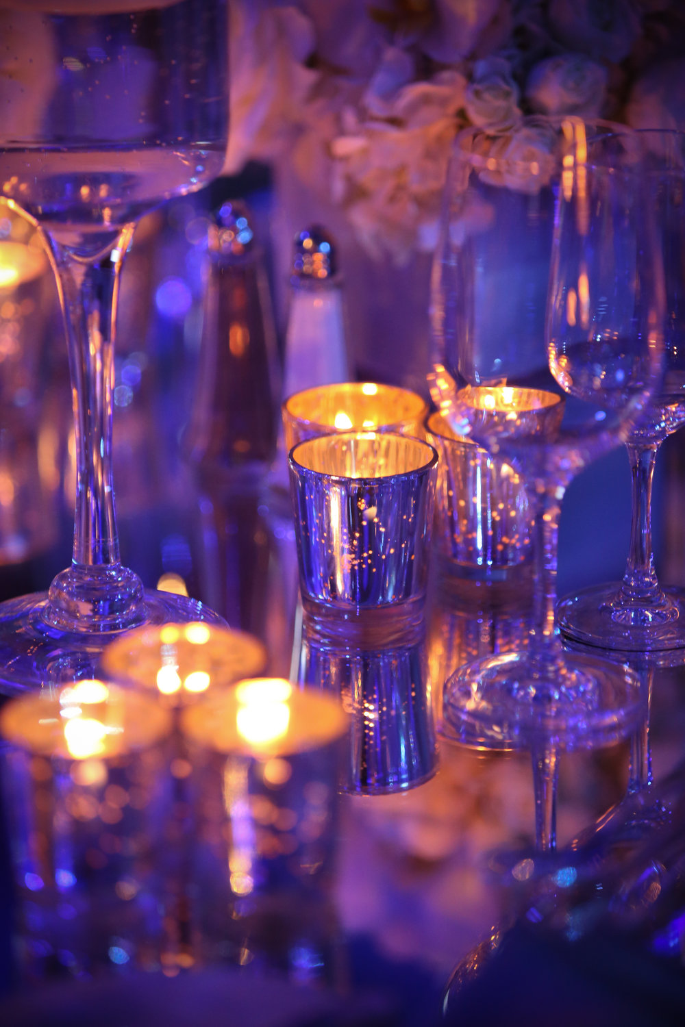 Centerpiece with mercury glass votives