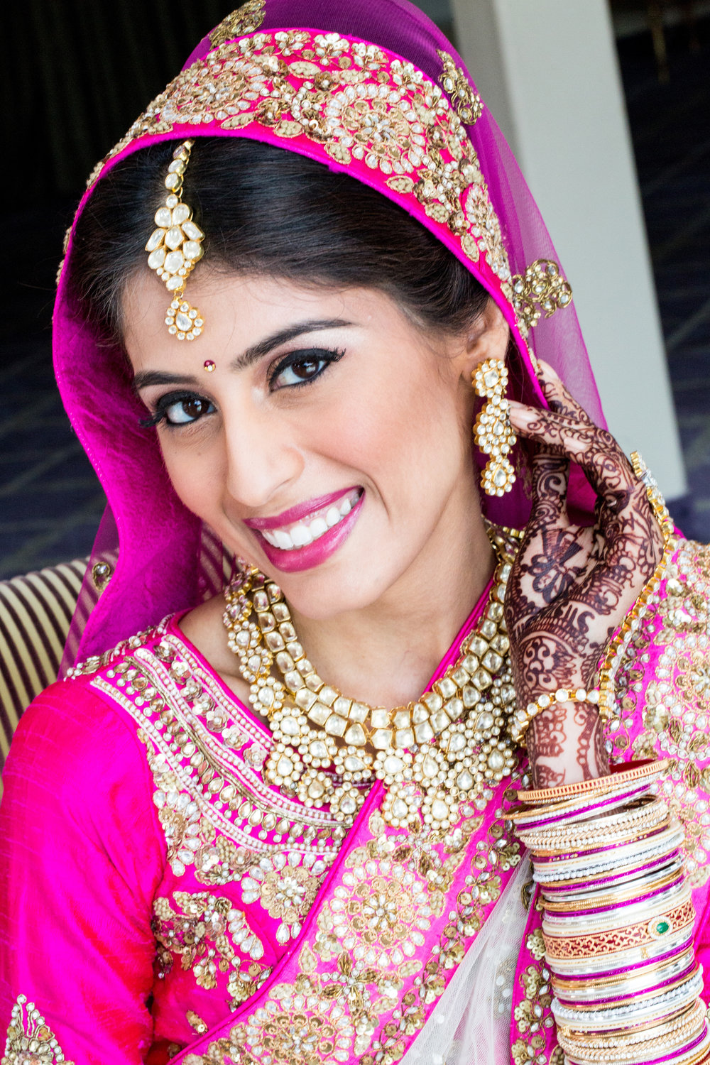 Indian bride smiling