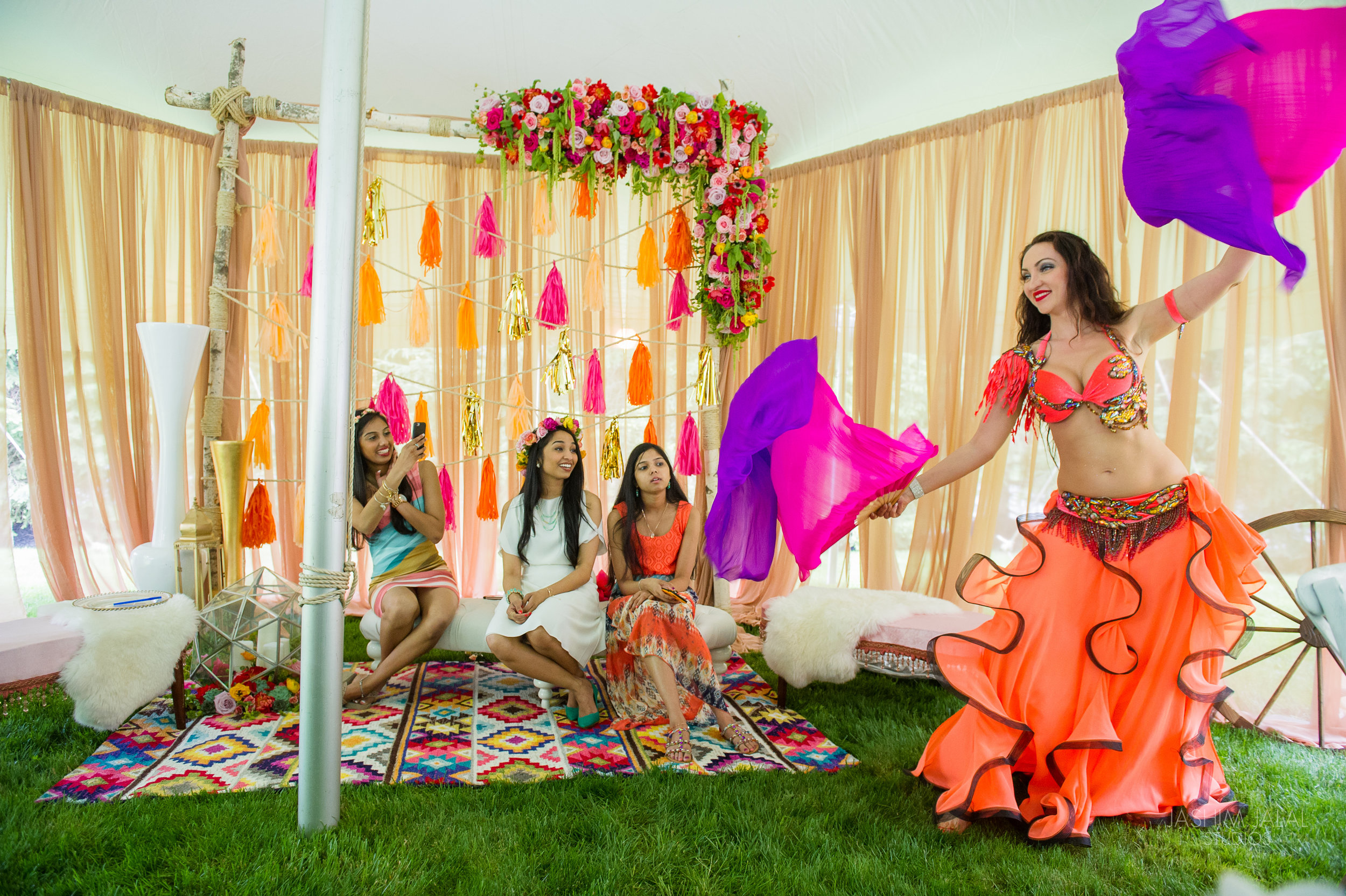 indian bridal shower boho chic summer tent event with dancer 10jpg