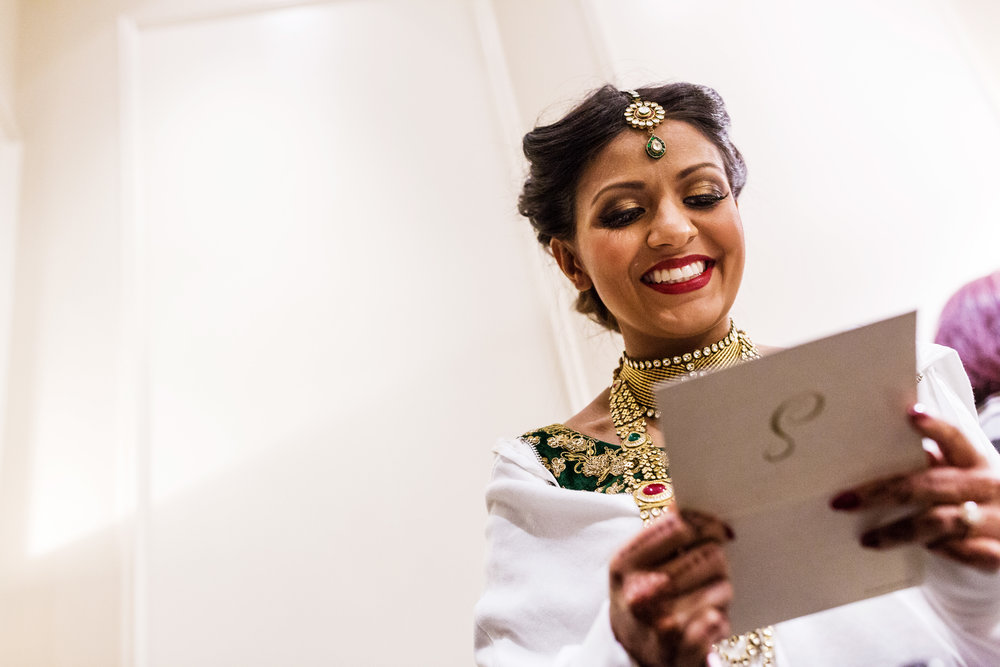 SMILING INDIAN BRIDE WITH LETTER FROM GROOM.JPG