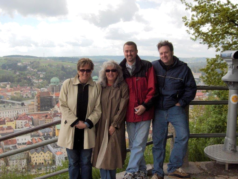 After a highly charged and emotional five days of shooting, all without a script, our team finally stopped for a group photo.  Executive Producer and director, Jane Hawtin, Gina and cameramen, Ivan Arsovski and Jason Pinchonsky, stand against a backdrop of the Danube River and Passau.