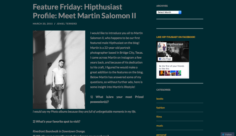 HIP+THUSIAST  Profile: Martin Salomon II
