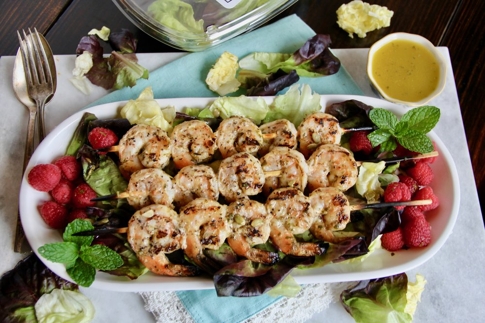 Grilled Shrimp Salad with Cilantro Mint Dressing