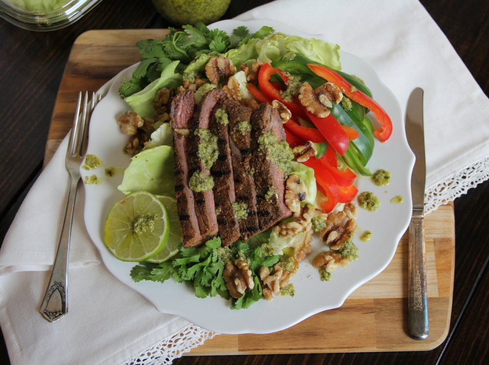 Steak Salad with Avocado Lime Dressing
