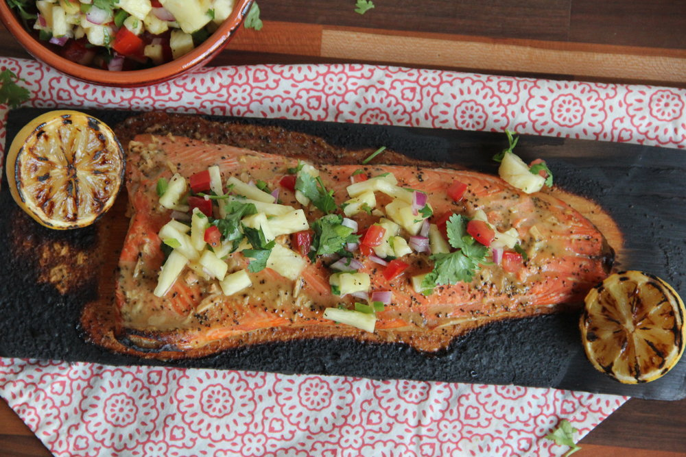 Plank Grilled Salmon {with Pineapple Salsa}