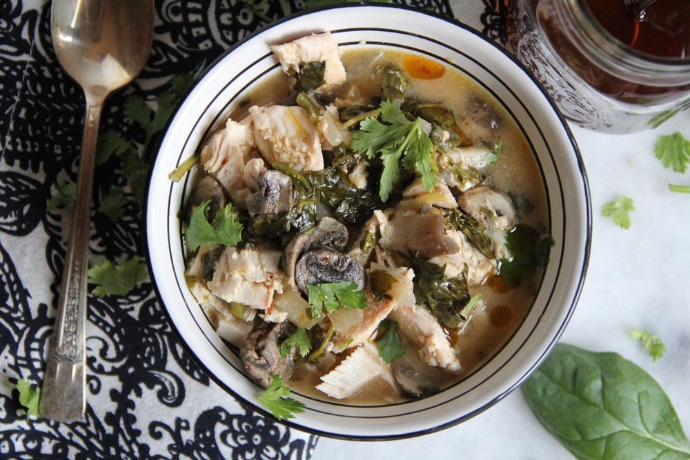 Tom Kha Gai {Chicken Coconut Soup}