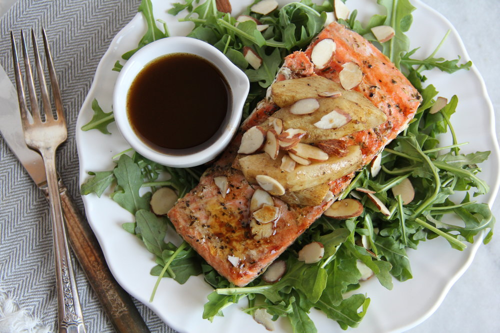 Grilled Salmon with Roasted Apple Salad