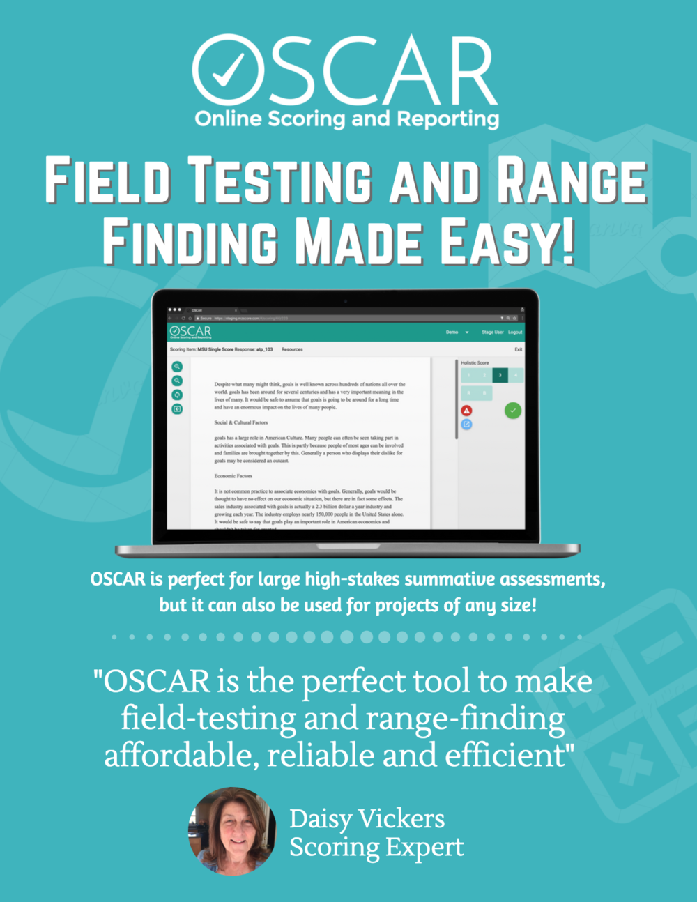 OSCAR is the perfect online tool for distributed or on-site range-finding or field testing!