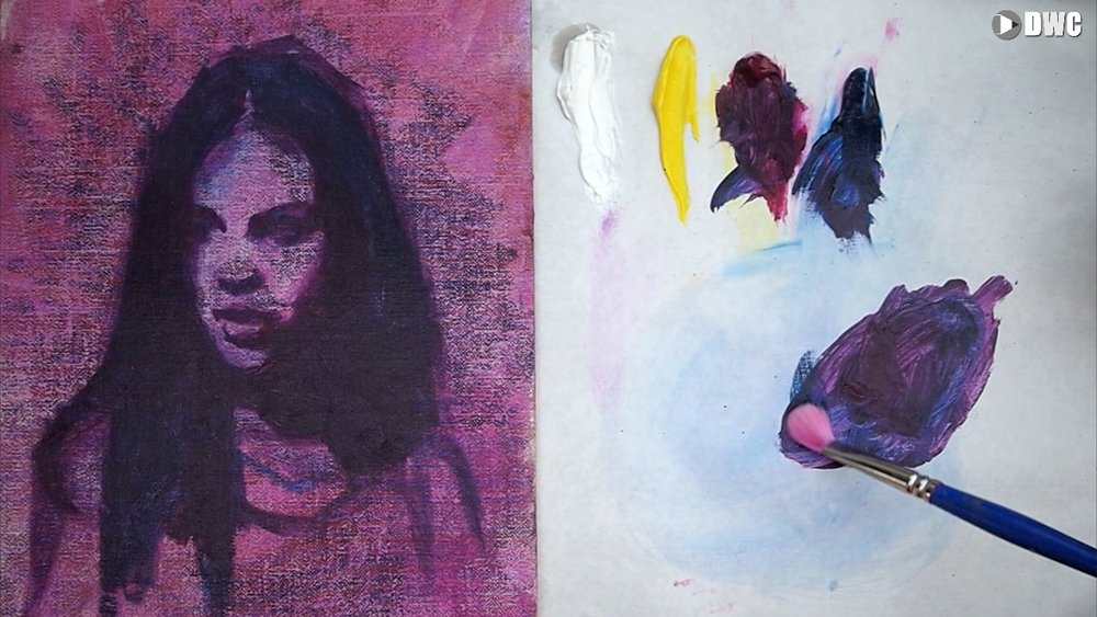 The canvas was toned with a wash of magenta to create variation and potential color 'accidents'. Once the drawing is complete, I block in the dark shadow mass which includes her hair. The color here is mostly Phthalo Blue with a little Quin Magenta to make it darker and and slightly violet. This color and tone is also the darkest dark value in the painting.