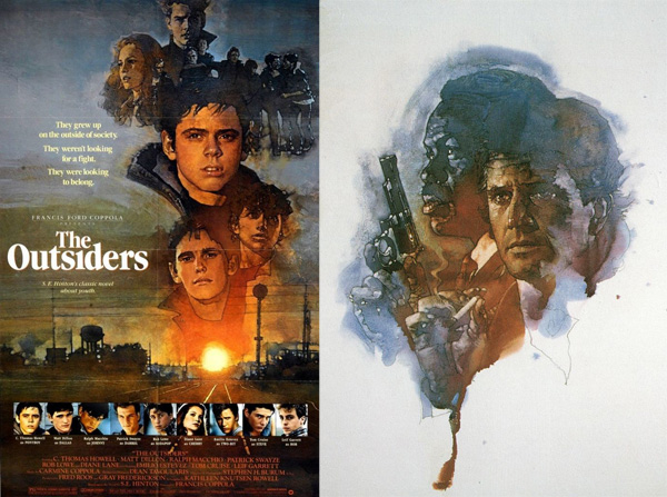 The Outsiders  (1983) and  Lethal Weapon  (1987) movie poster art by David Grove.