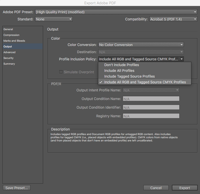 Export Step 3: Include All RGB and Tagged Source CMYK Profiles