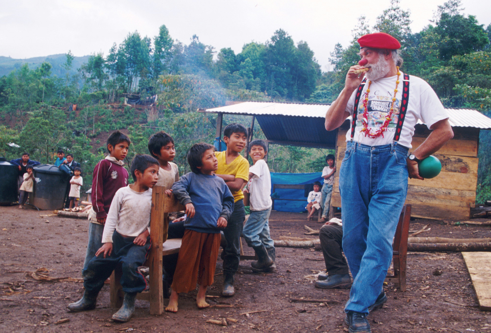 "Bernie trained as a clown under Wavy Gravy and Mr.Yoowho, Moshe Cohen. This is a ""Clowns without Borders"" performance in Chiapas in 2001"