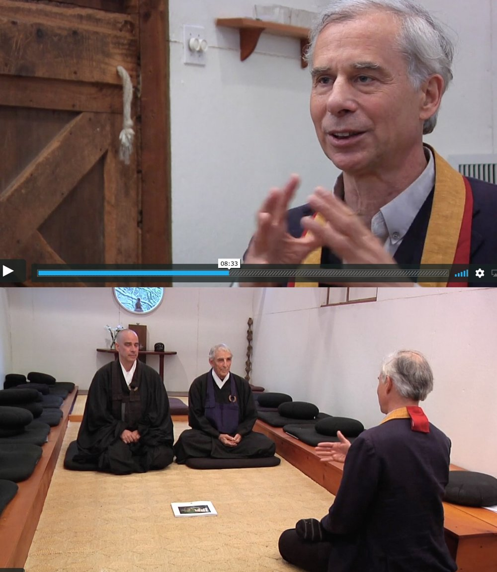 link here : In 1982, as a young Zen student of Bernie Glassman,  Peter Cunningham   joined Bernie Glassman and his first successor, Peter Muryo Matthiessen , on a pilgrimage to pay respects to their dharma grandparents—some of the great living Zen masters of twentieth-century Japan. In this video exclusive, Cunningham, keeping it all in the dharma family, reunites with Matthiessen and his dharma son, Michel Engu Dobbs, at the zendo on Matthiessen's property in Sagaponack, Long Island. The three discuss their lineage, which combines elements of both Soto and Rinzai Zen, and the nature of dharma transmission within it. - from Tricycle Magazine