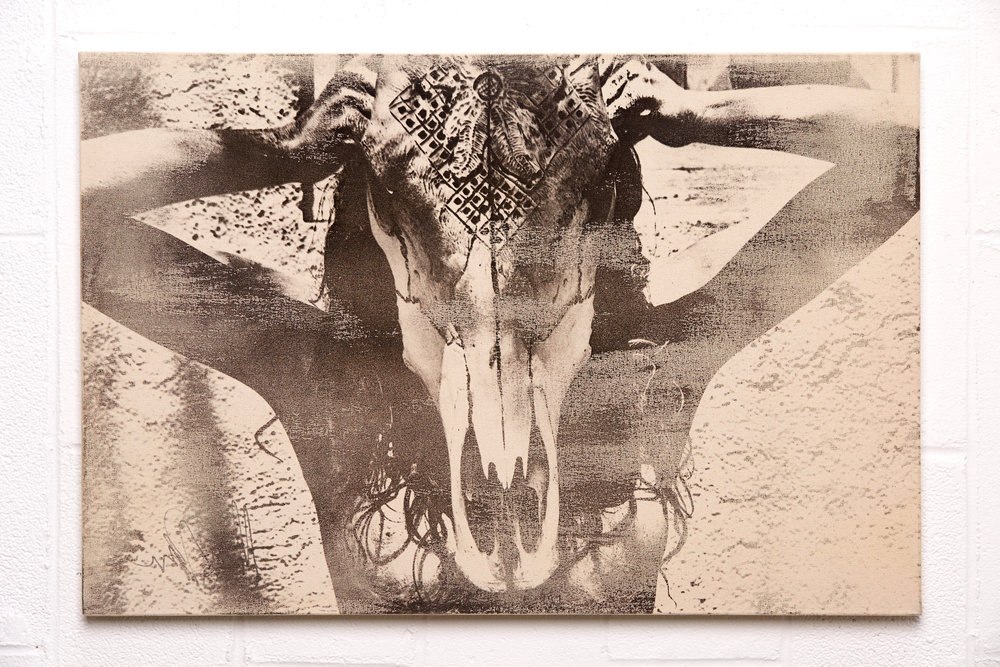 (SOLD) Cowskull Girl - $2000 | 24x36