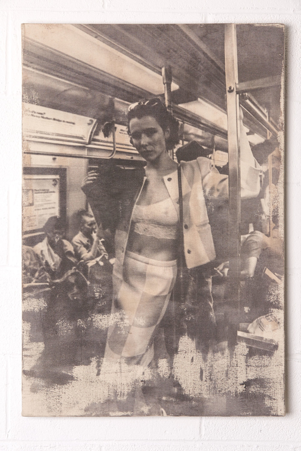 "L Train Vintage     24x36""    Single Edition Print (#1 of 1)   Liquid Emulsion Painted on Raw Canvas, Hand-Wrapped to 1/2"" Thick Foamcore Board.  Foamcore has a slight convex warping about 3/8"" from outside corners to inside   Ingredients:  Photo (One Grand Day, One of my Favorite People (Marla Covert!), One Subway Ride) Print (Canvas, Foamcore, Liquid Light, Ethenol, Proprietary Chemical Blend & Process)"