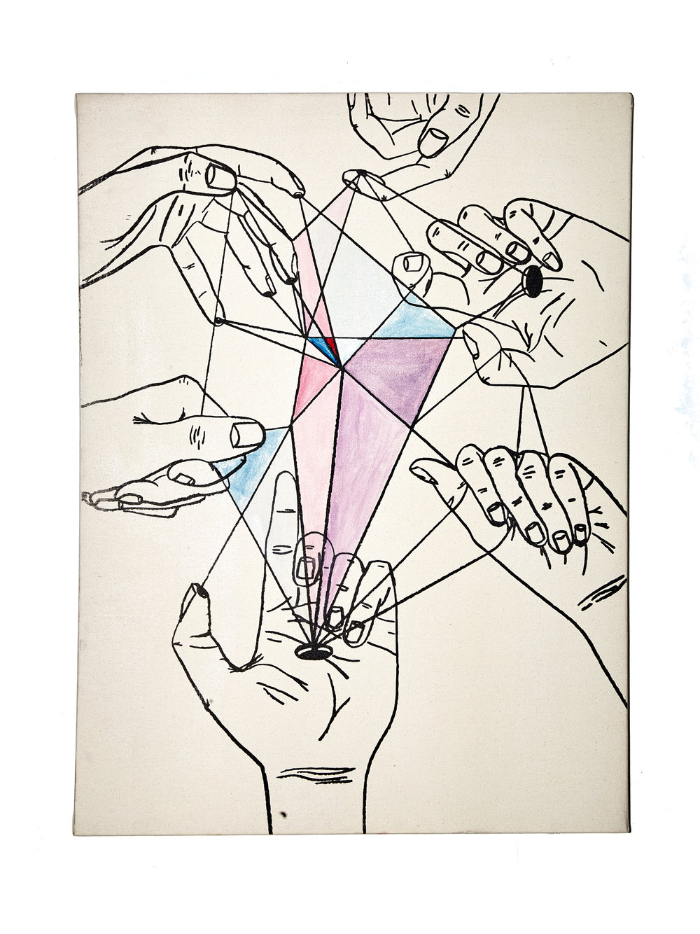 """Bravo Hands   24"""" x 36""""  Created at the edge of the world on the Island of Siargao sipping Pomadas at Bravo  The 6.1 earthquake and Tsunami Sirens made me think this was the last piece id ever make  Liquid Light, Pencil, Charcoal, Watercolor"""