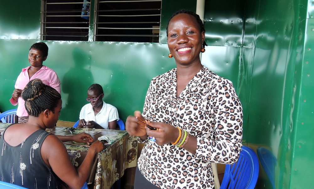 Harriet's skills in bead-making and leadership mean that she can now take care of her family and save to build a house.