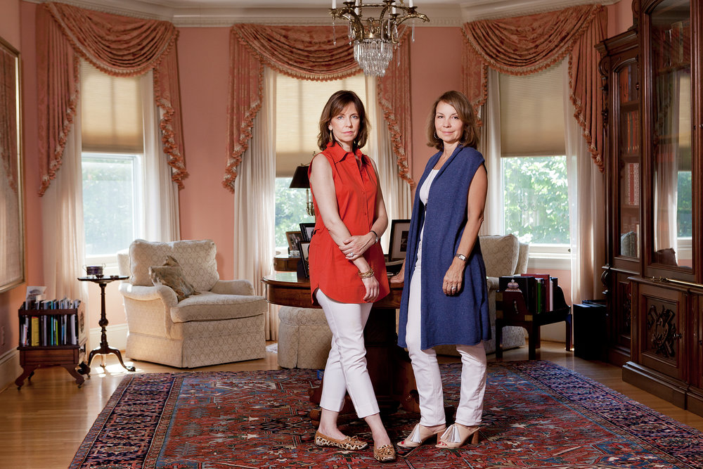 Caroline Griffin with her sister Andrea, in Caroline's home in Baltimore, MD.