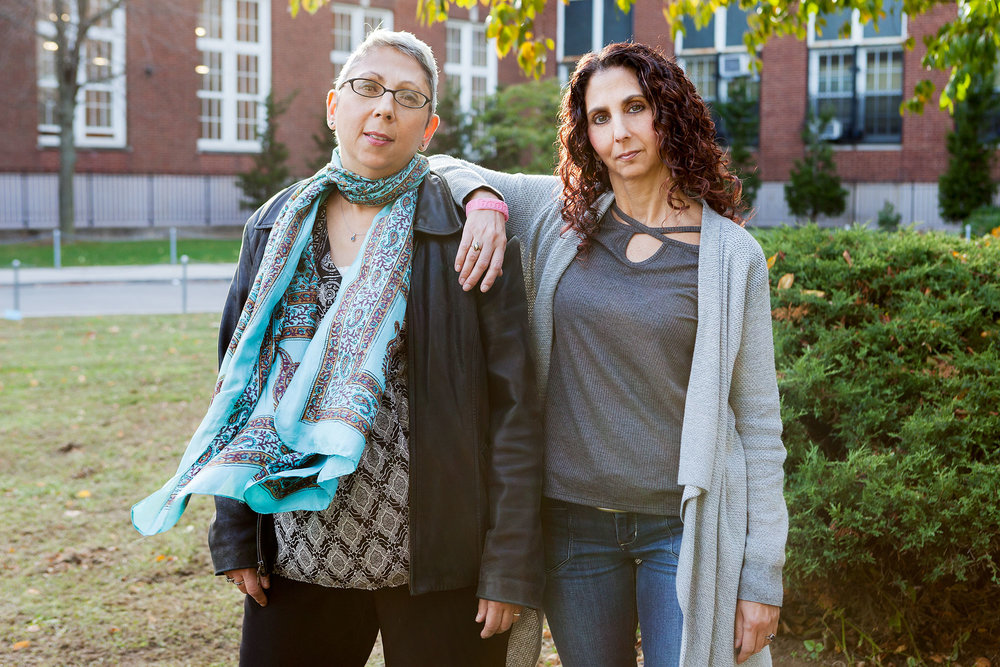 Cathy Gigante-Brown (left) with her sister Liz, photographed in Brooklyn.  Cathy is a  writer  who has written many articles about breast cancer since her diagnosis, as well as other nonfiction topics, fiction and poetry.