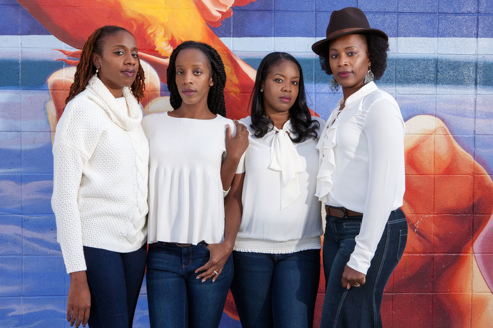 Kelly Devose (2nd from left) with her three sisters, photographed in Philadelphia, PA.