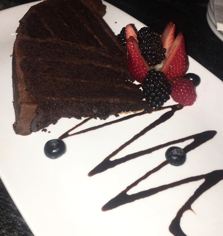 Chocolate cake to share for the table (enjoyed a few bites)