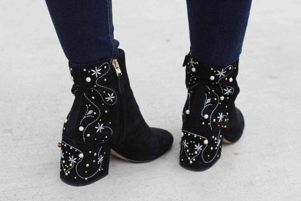 Embroidered booties style by Au Courant Life