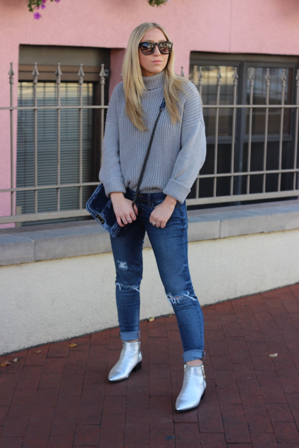 Grey turtleneck and metallic booties for Fall by Au Courant Life