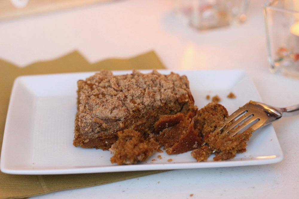 Healthy pumpkin coffee cake by Au Courant Life