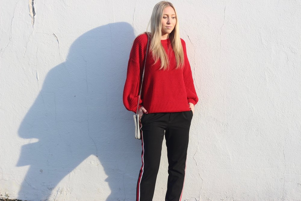 Black, red, and white trousers with red sweater from Forever 21 by Au Courant Life
